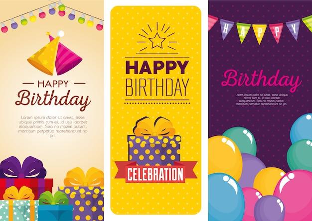 Birthday celebration set icons Premium Vector