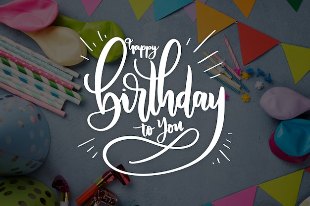 Birthday celebration style for lettering Free Vector