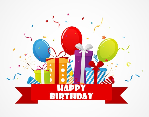 Birthday celebration with confetti and party icon Premium Vector