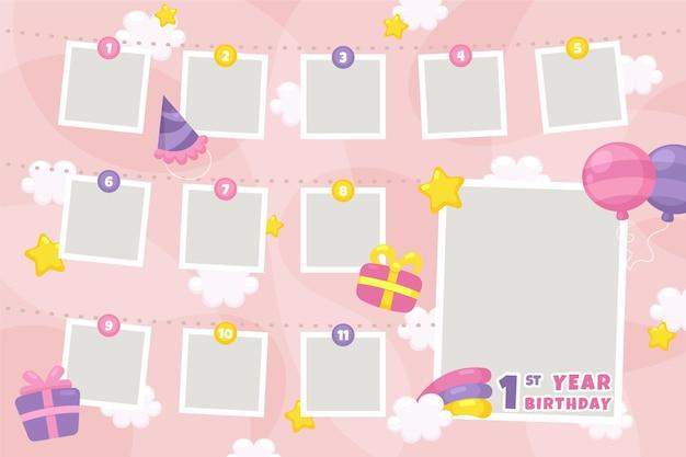 Collezione di cornici collage compleanno in design piatto Vettore gratuito