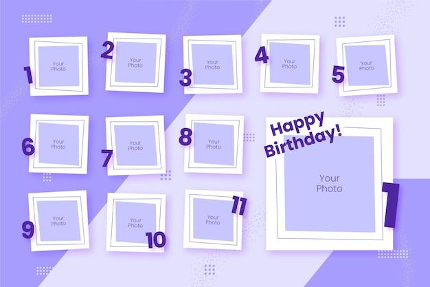 Набор рамок для коллажей на день рождения Бесплатные векторы