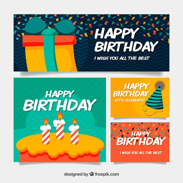 Birthday collection of greeting cards in flat design vector free birthday collection of greeting cards in flat design free vector m4hsunfo