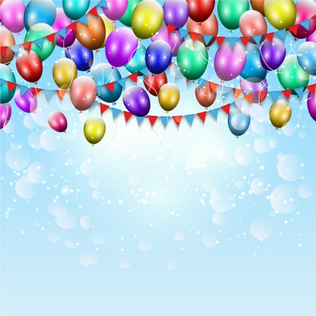 Birthday color ballons background