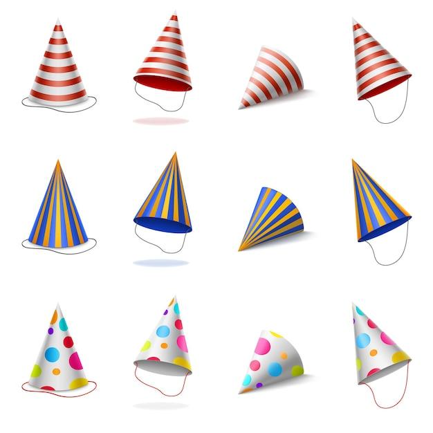Cappellini colorati di compleanno con motivo a righe e pois Vettore gratuito