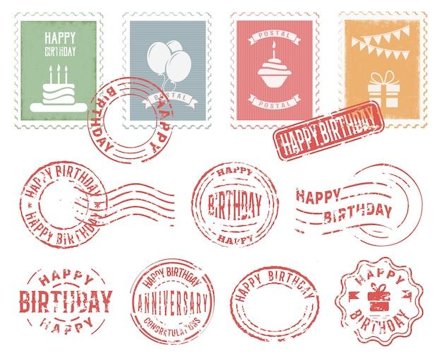 誕生日カラフルな郵便切手セット 無料ベクター