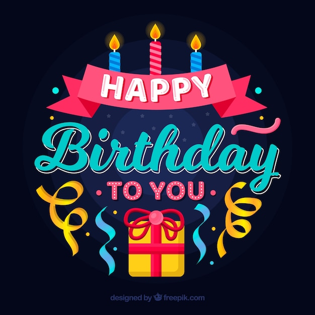 Birthday composition with gift and candles Free Vector