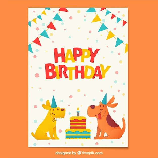 Birthday composition with happy dogs Free Vector