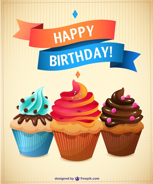 Birthday cupcakes card Free Vector