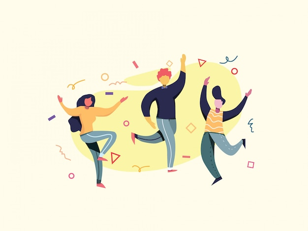 Birthday dancing party flat vector illustration. Premium Vector