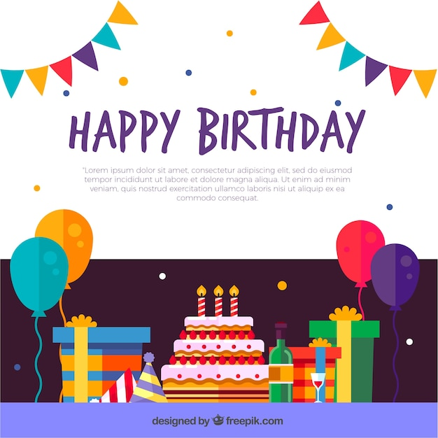 Birthday decoration background in flat design Free Vector
