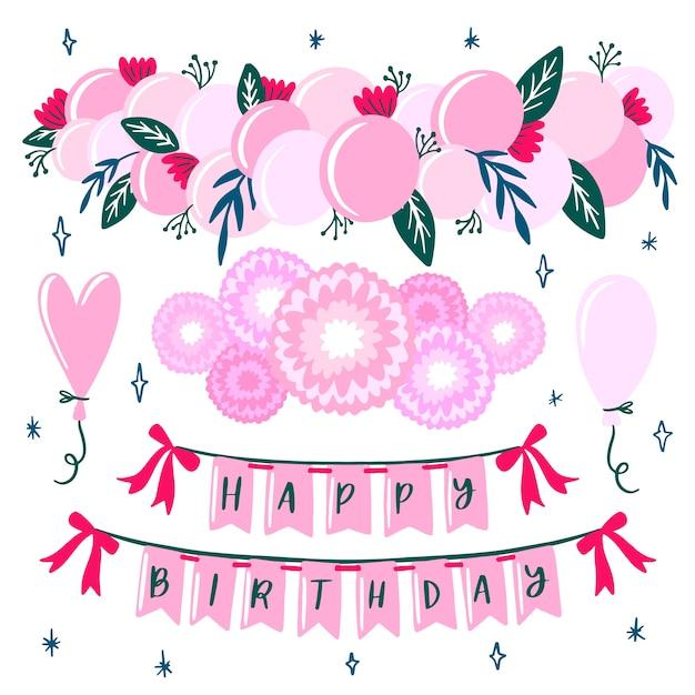 誕生日の装飾の概念 無料ベクター