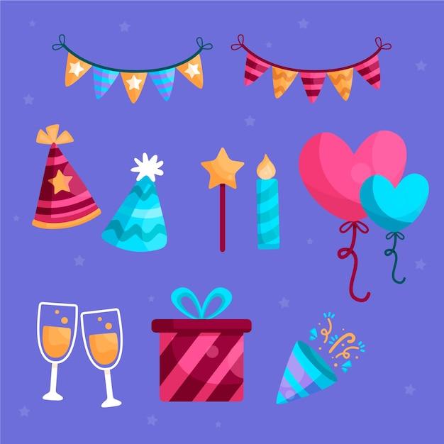 Collezione di elementi di decorazione di compleanno Vettore gratuito