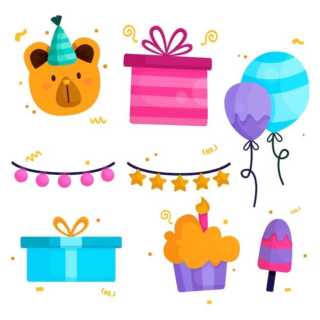Pacchetto di elementi di decorazione di compleanno Vettore gratuito