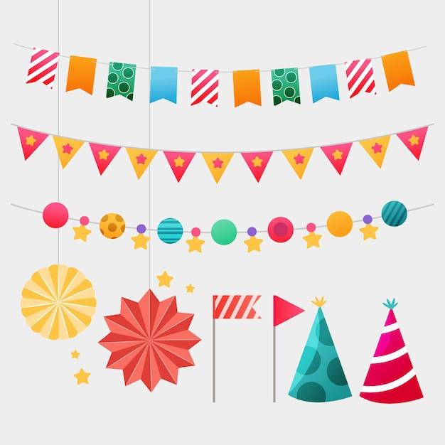 Set di elementi di decorazione di compleanno Vettore gratuito