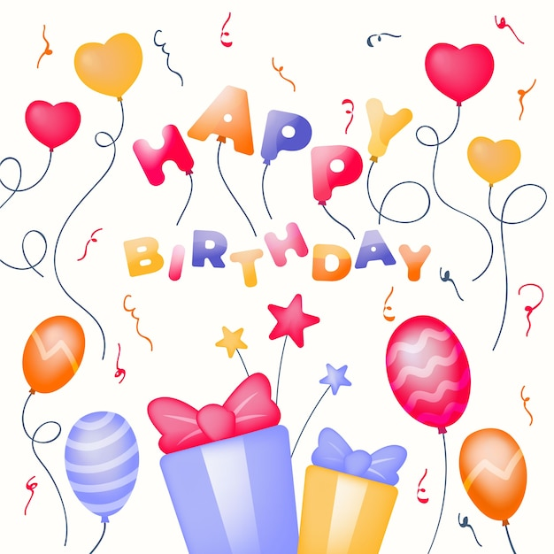 Birthday decoration illustration Free Vector