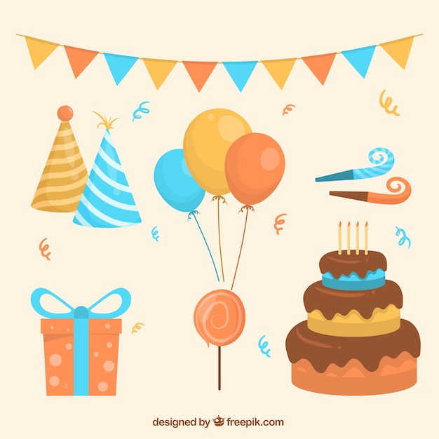 Birthday decoration pack Vector | Free Download