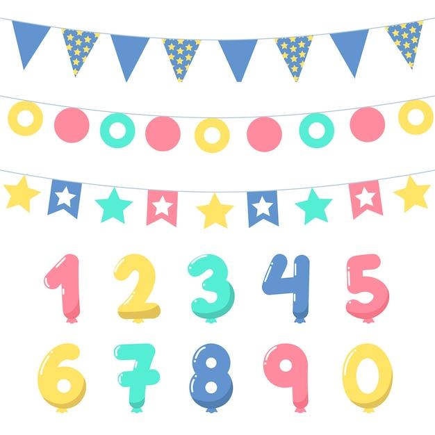 Pacchetto di decorazioni di compleanno Vettore gratuito