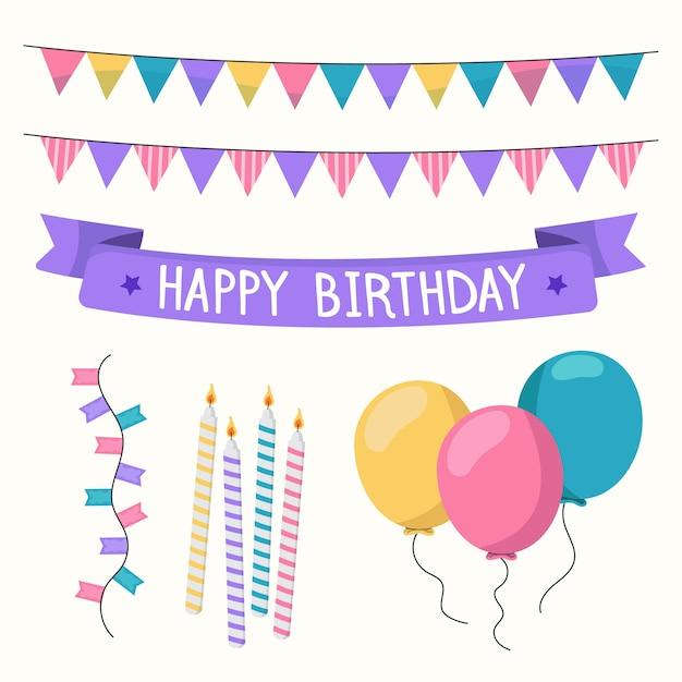 Birthday decoration set Free Vector