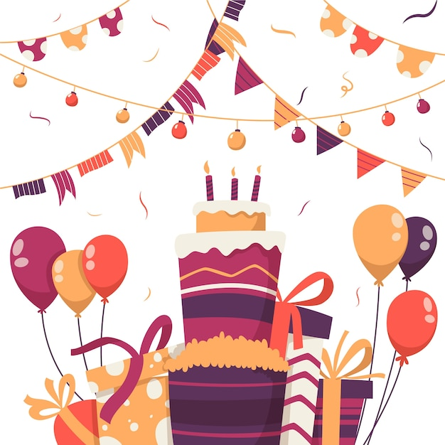 Birthday decoration with cake and balloons Free Vector