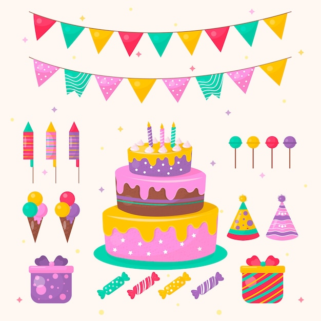 Birthday Decoration With Cake And Sweets Free Vector