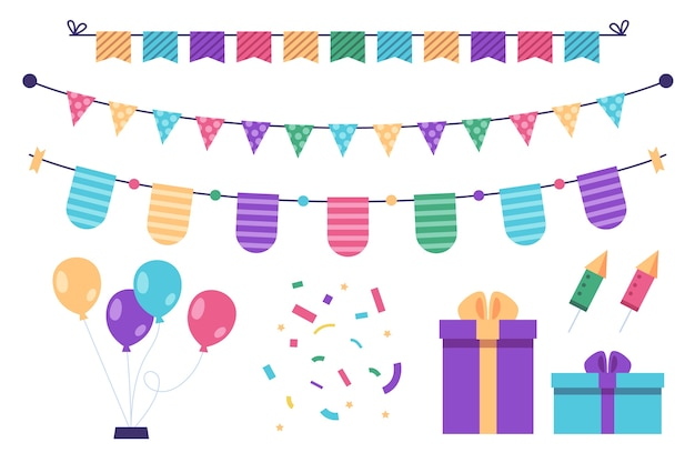 Birthday decoration with gifts and balloons Free Vector