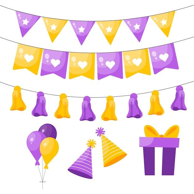 Decorazione di compleanno con elementi gialli e viola Vettore gratuito