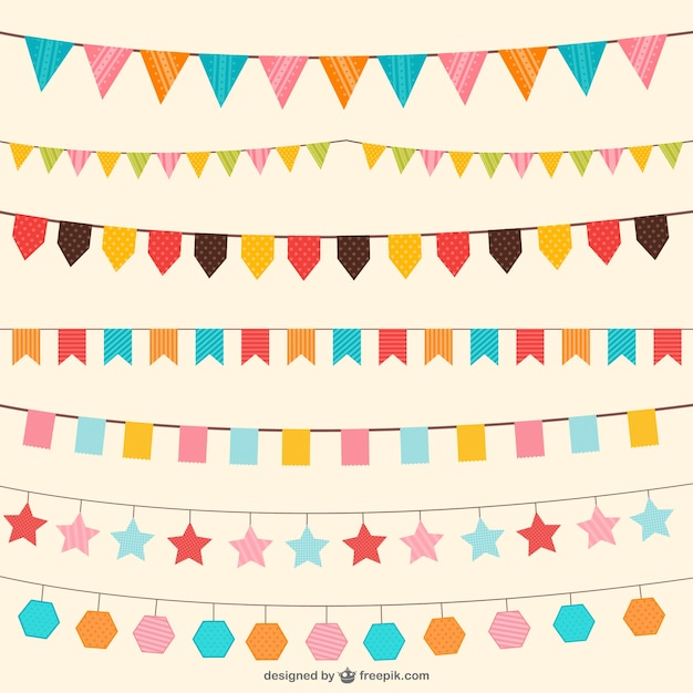 Birthday decorations in different colors Free Vector