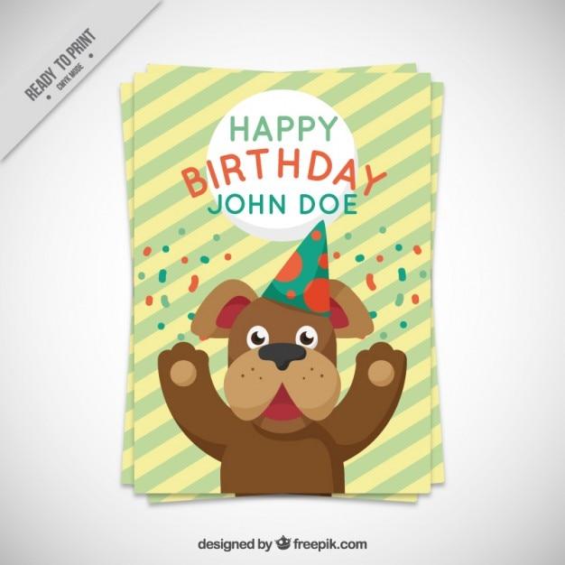 Birthday Dog Card Vector Free Download