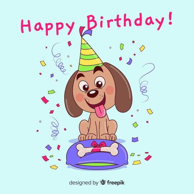 Freepik Birthday Dog Vector For Free