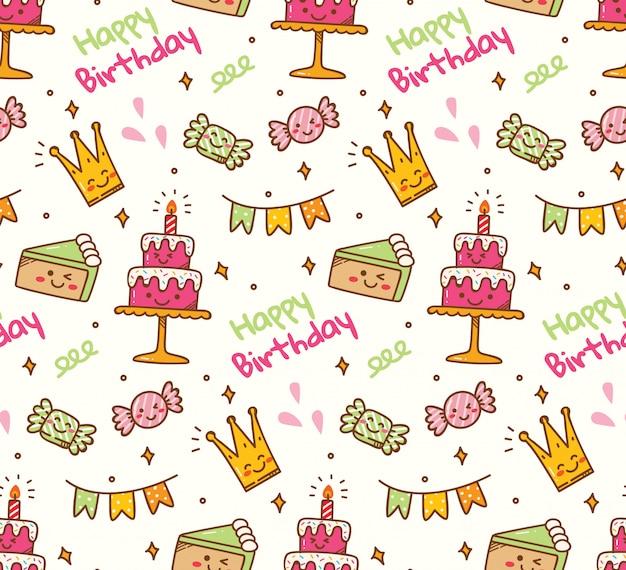 Birthday doodle seamless background Premium Vector
