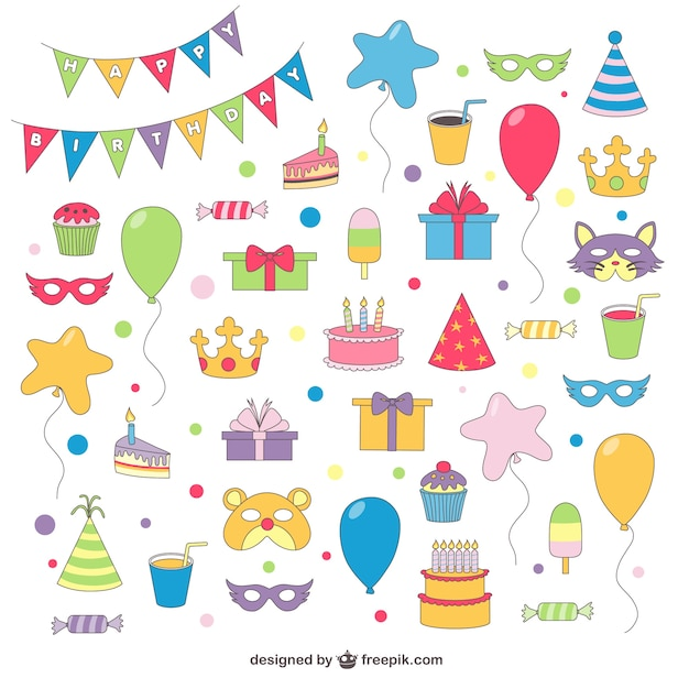 Birthday Drawings Free Vector