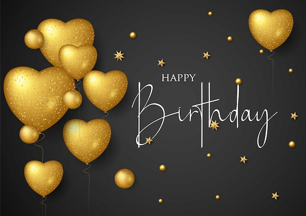 Birthday elegant greeting card with gold balloons and falling confetti Premium Vector