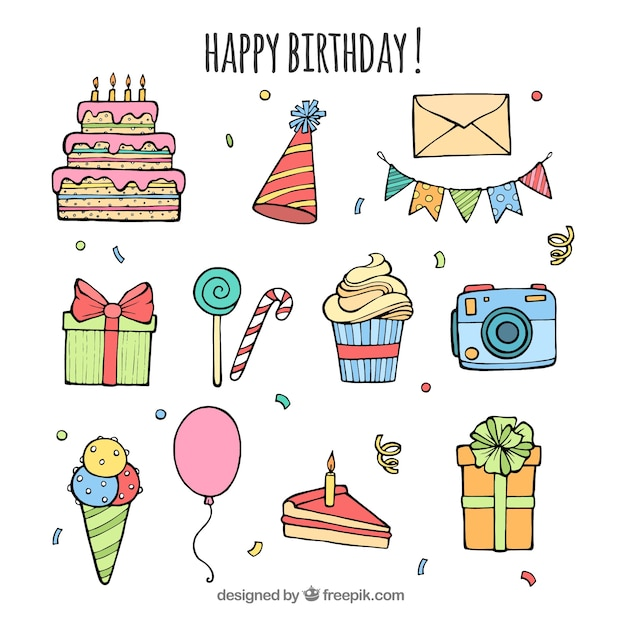 Birthday element collection with hand drawn style Free Vector