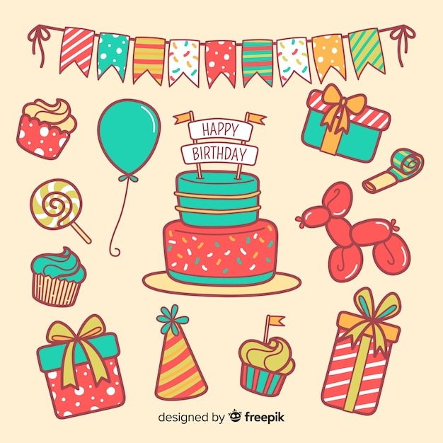 Birthday element collection Free Vector