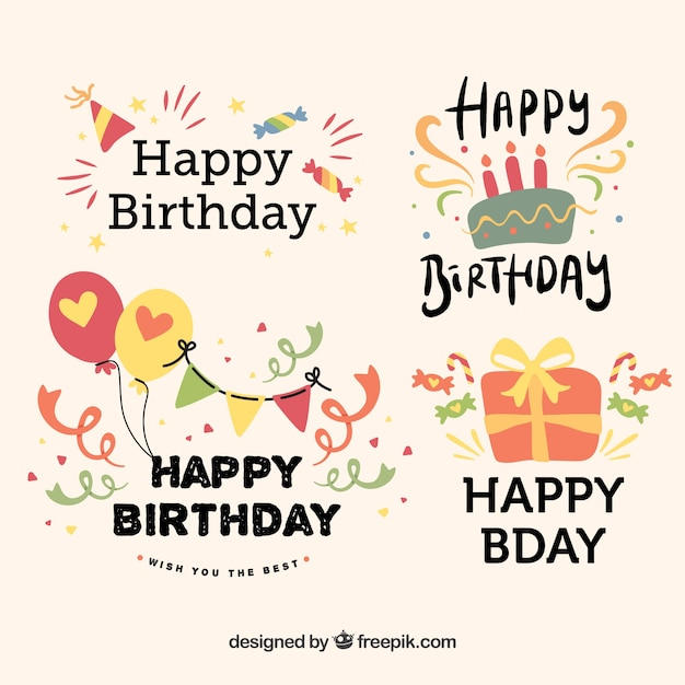 Birthday elements collection in hand drawn style Free Vector