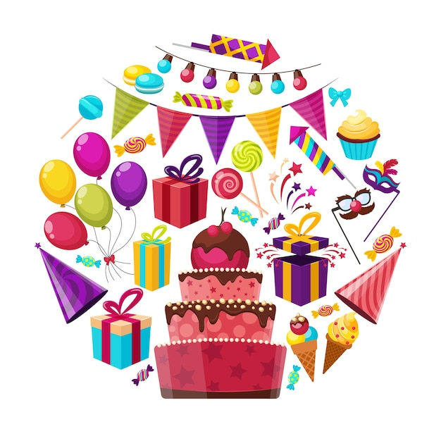 Composizione rotonda di elementi di compleanno Vettore gratuito