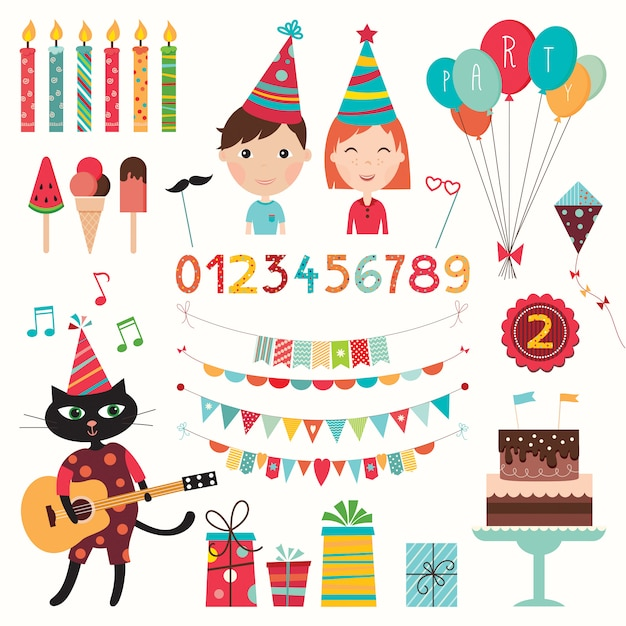 Birthday elements set. collection of party elements (vector design) Premium Vector