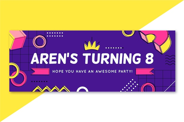 Birthday facebook cover template Free Vector