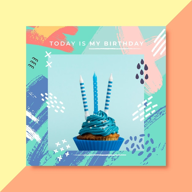 Birthday facebook post template Free Vector