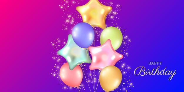 Праздничный фон дня рождения с гелиевыми шарами. Premium векторы