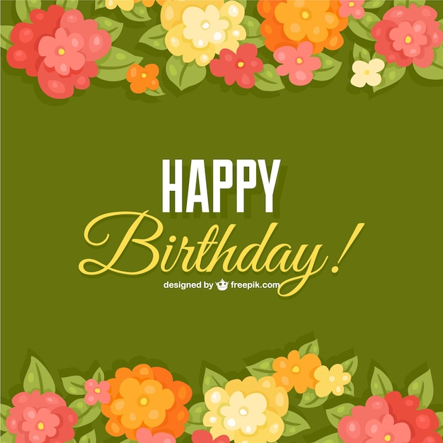 birthday flowers card template vector  free download, Beautiful flower