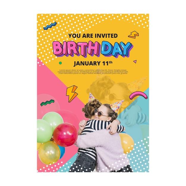 Birthday flyer vertical concept Free Vector