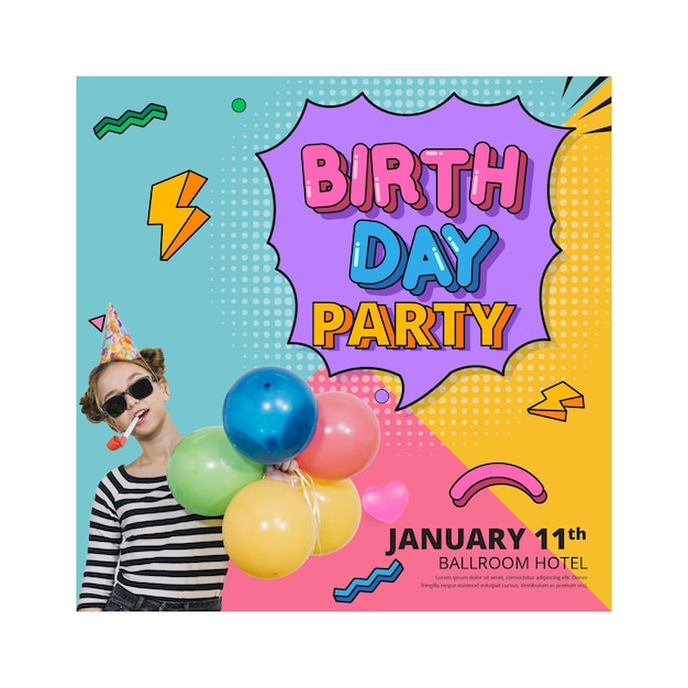 Birthday flyer vertical square Free Vector