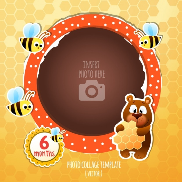 Birthday frame with a bear and bees Vector | Free Download