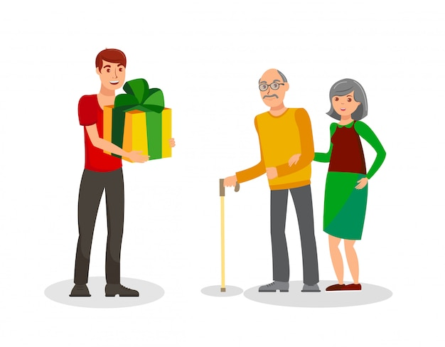Birthday gift for parents flat vector illustration Premium Vector