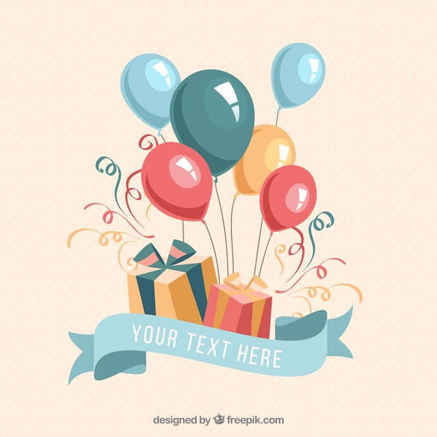 birthday gifts and balloons Free Vector