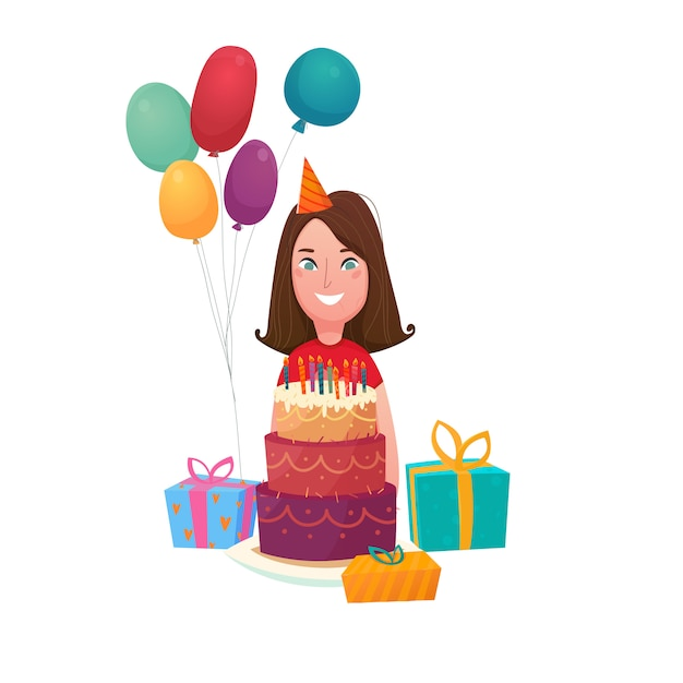 Birthday girl cake composition Free Vector