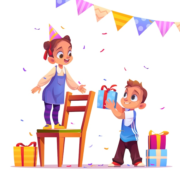 Birthday girl receive gift from boy, party, event Free Vector