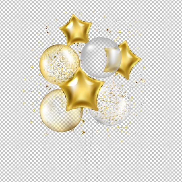 День рождения золотые звездные шары и конфетти Premium векторы