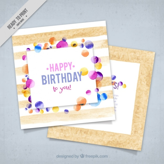 Birthday Greeting Card In Watercolor Style Vector Free Download